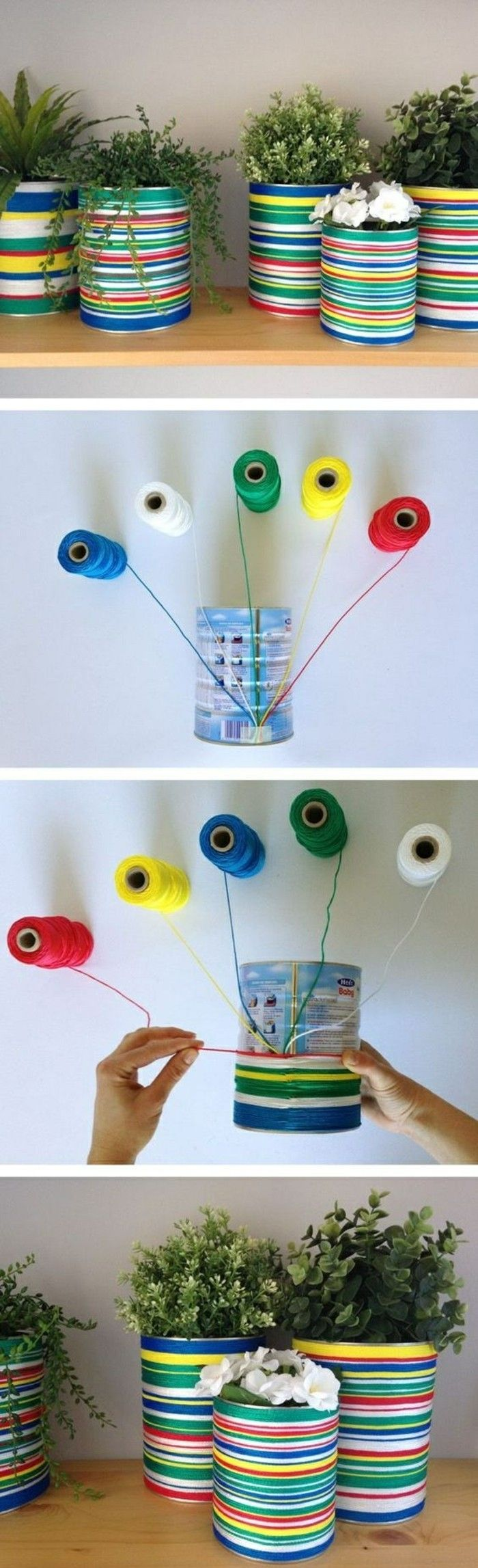 creative craft-ideas-Pots-off tin cans-thread-in-different-colors