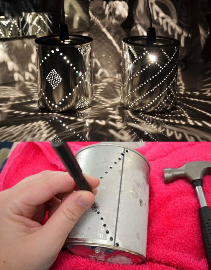 creative craft-ideas-konservendose lamps-hammer-diy-pink cloth