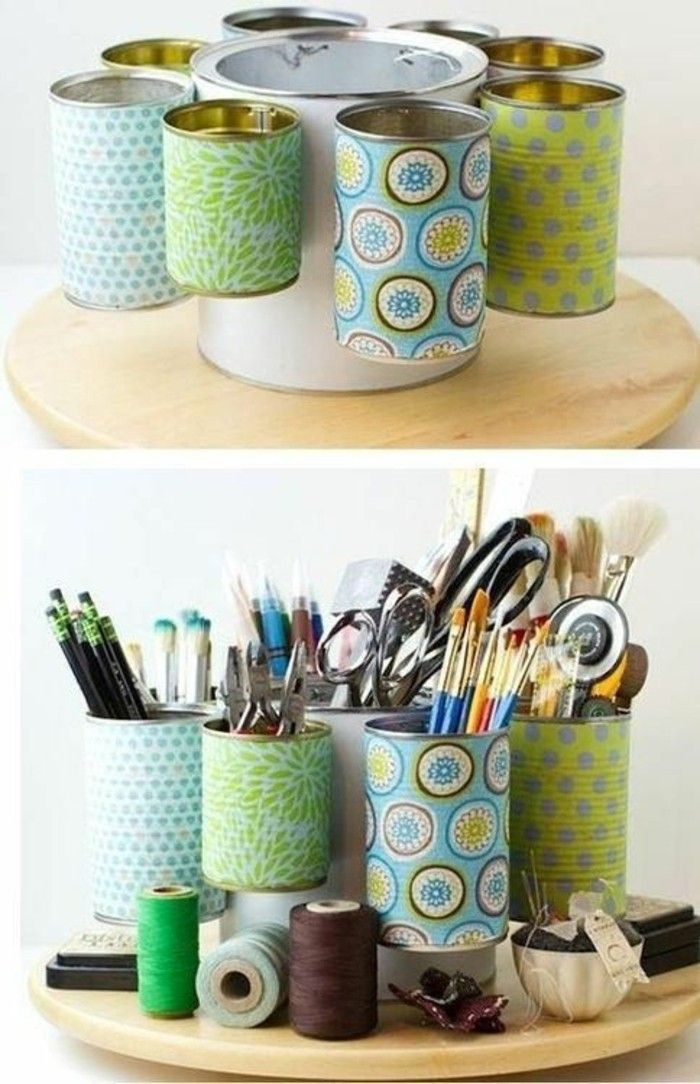 empty-cans-with-colored-paper-decorate-pins halter-yourself-make-thread-scissors Pencils
