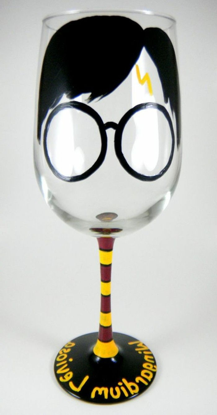 funny-decorated champagne glass colorfully hand-painted