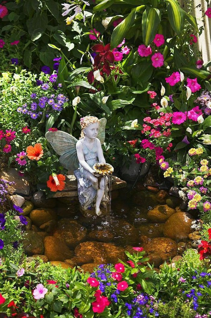 Magical Garden Flowers statue Fountain