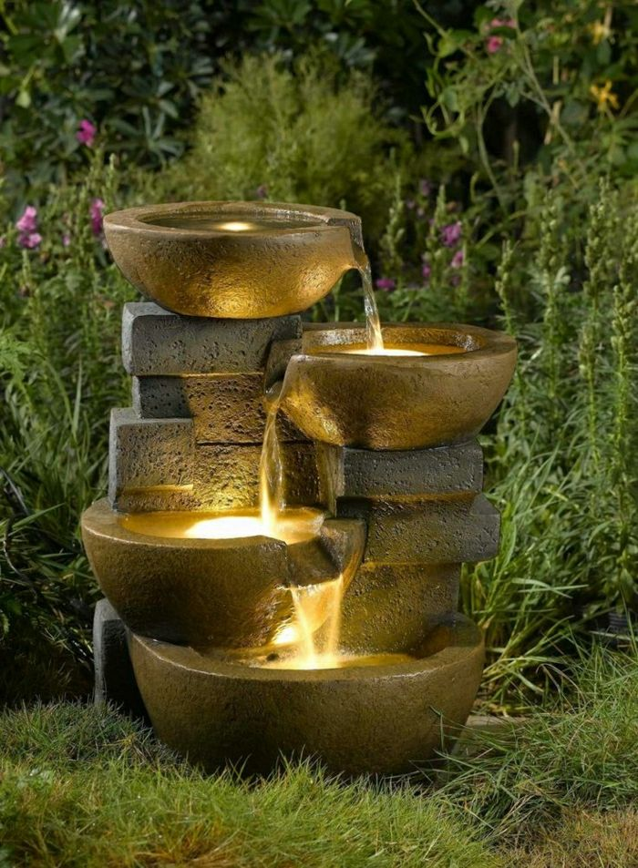solid-garden fountains lights