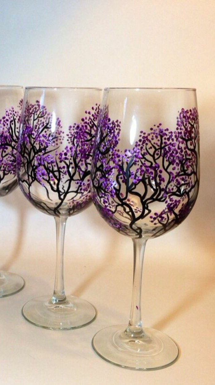 masterfully-painted wine glasses Cherry Blossom Decoration