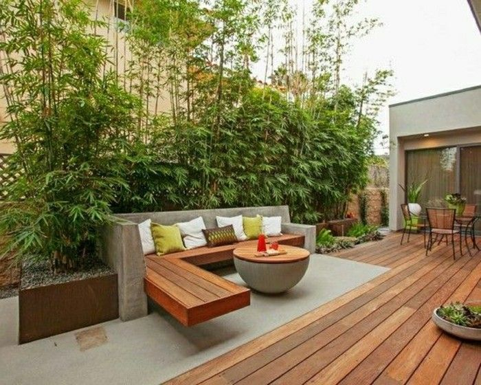 modern-landscaping plant-wood-floor-face protection-