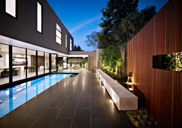 modern-design-with-garden-floor tiles swimming pool and marble-