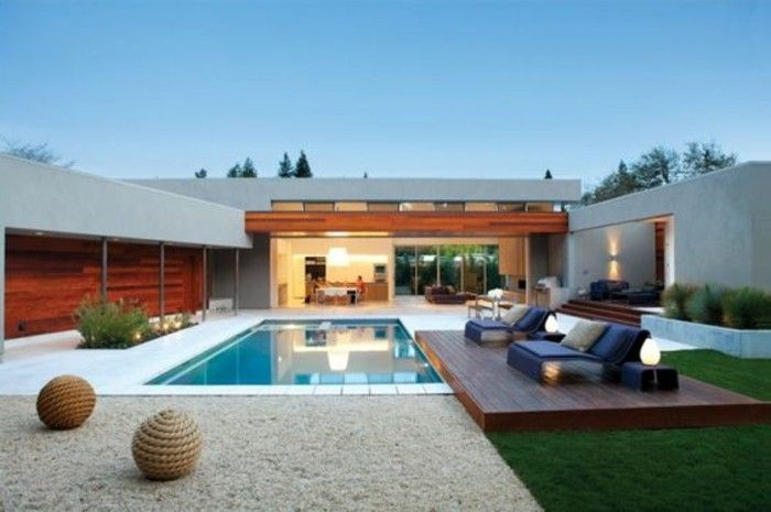 modern-design-with-garden swimming pool and lounge furniture