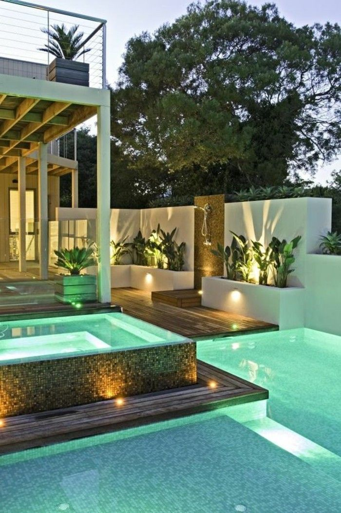 Modern Garden with pools and-lighting