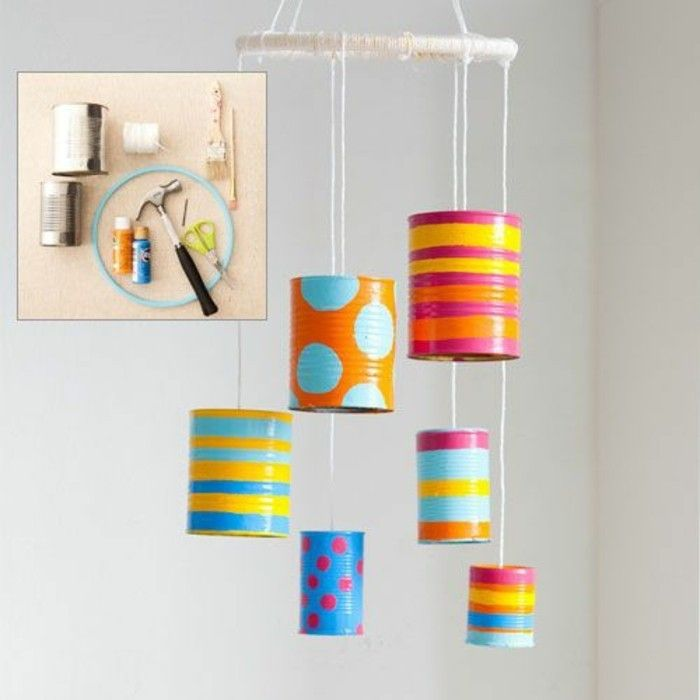 new-craft ideas-tin cans-decorate-hamer-color-scissors-thread