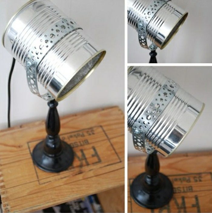 new-craft ideas-stehlampe-of-silver-konservendose-diy-wood