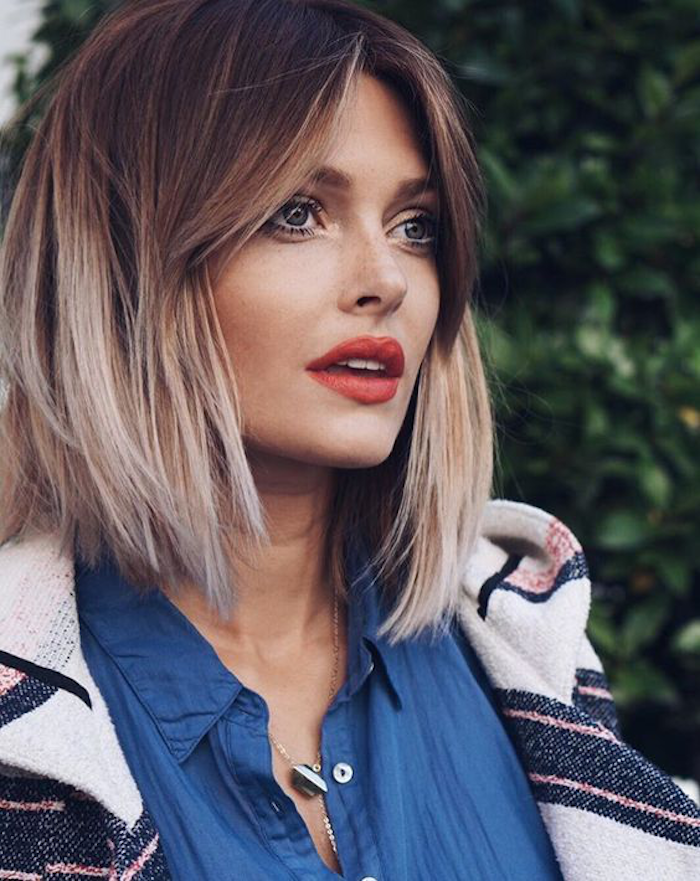 blond ombre for smooth short hair beautiful design beautiful woman red lipstick