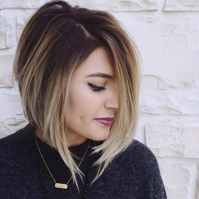 ombre hair beautiful hairstyle with a combination of colors pink lipstick lipstick