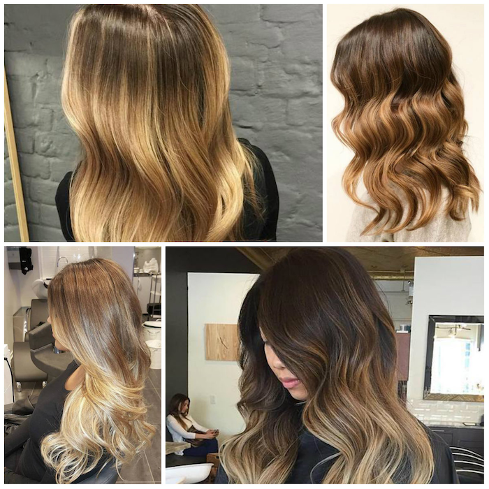 ombre hair hairstyles four design variants brown blond hairdresser good results