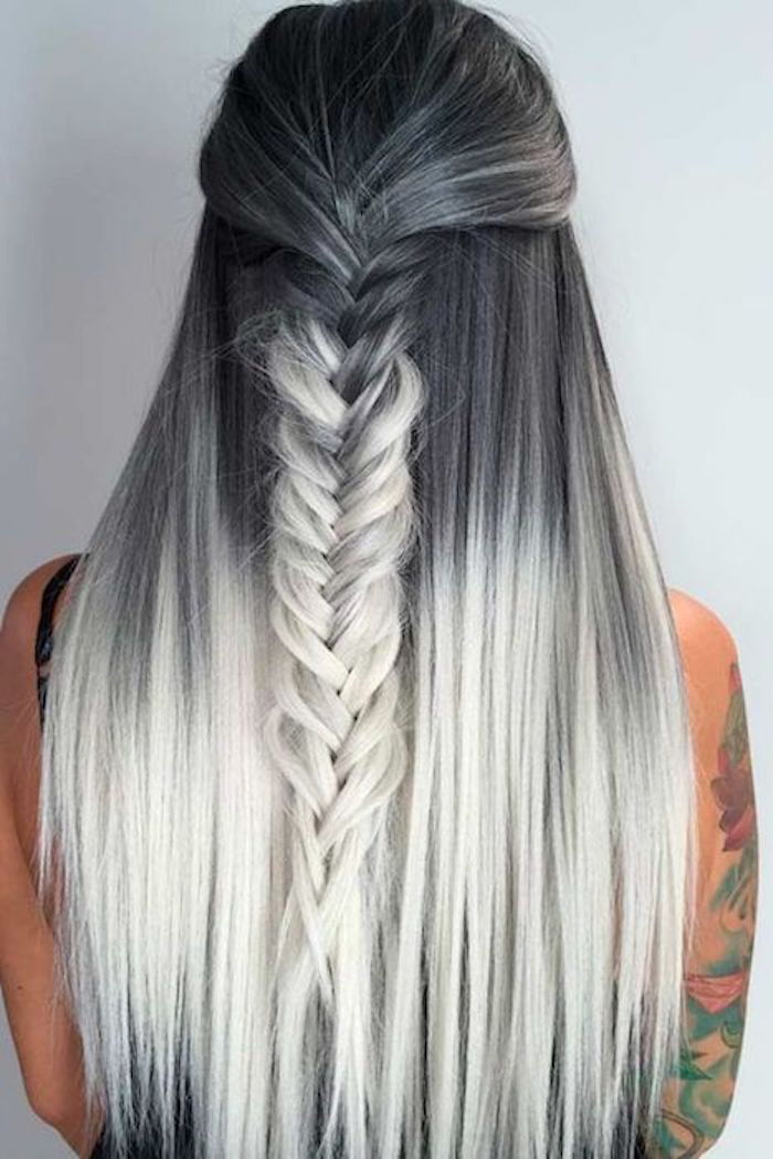 ombre look long hair gray beginnings pale blond to white pointed braids make themselves