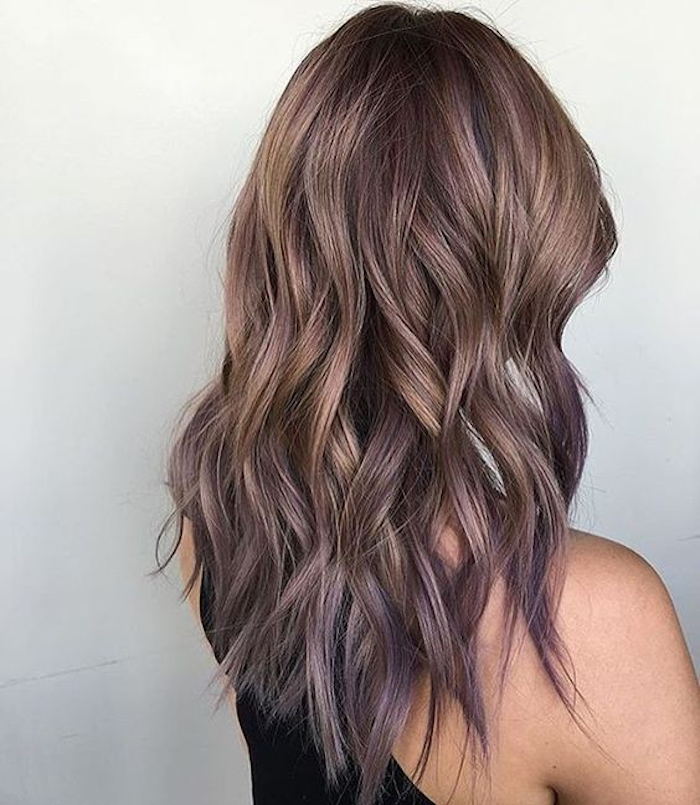 hair ombre mitellange hair in brown with curls and subtle ombre in purple
