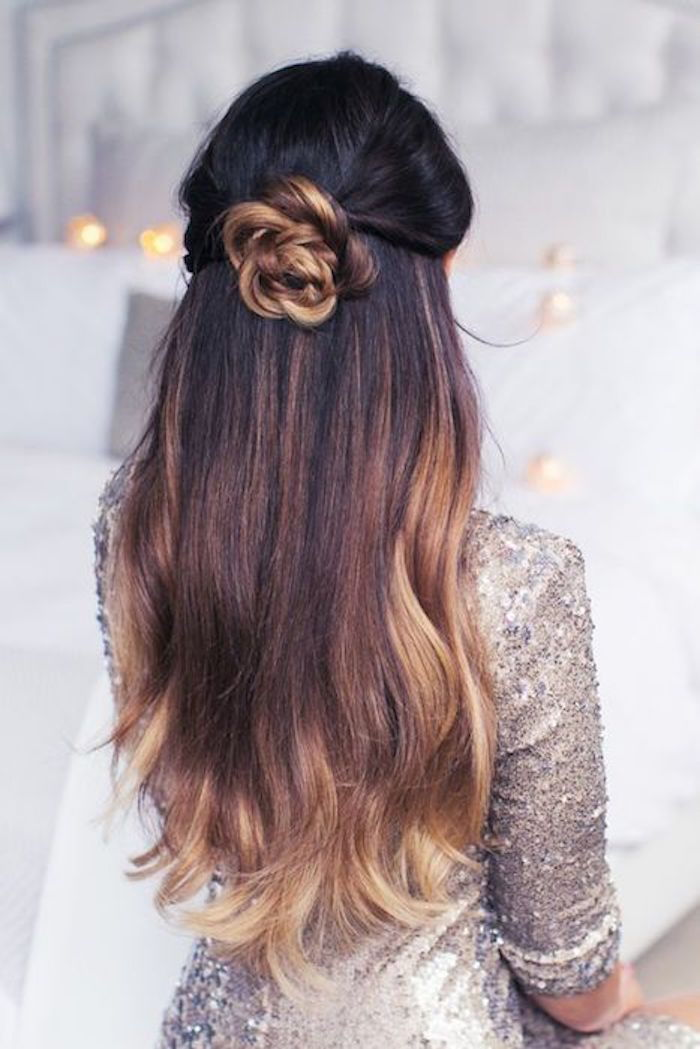 beautiful decoration from own hair make flower blond blonde tips