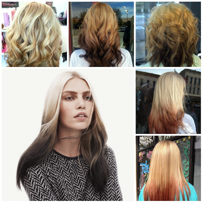 hair ombre tips in different colors unusual ideas for hairstyles model