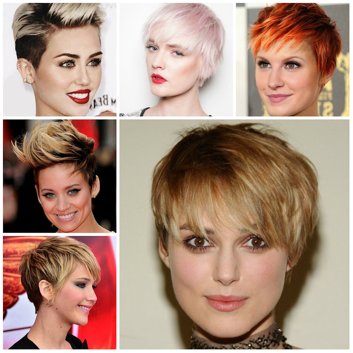 hair ombre for very short hair beautiful ideas like miley sirus red lips pink chain chocker