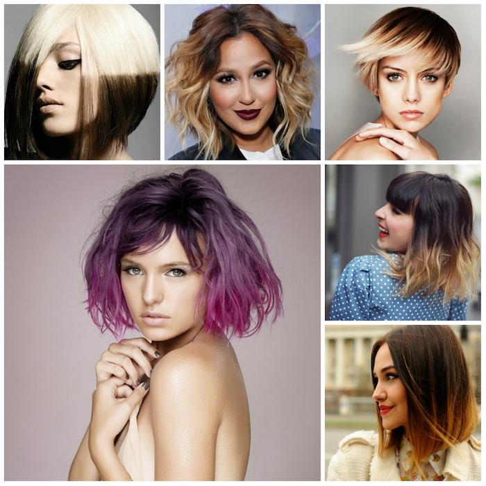 approach dark tips bright designs in different colors purple blond brown