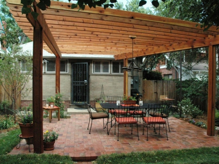beautiful model house with wooden pergola