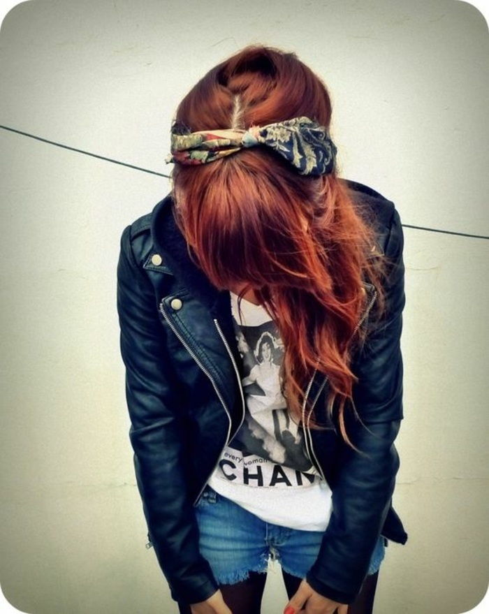 jeans, white t-shirt, red curly hair, black leather jacket