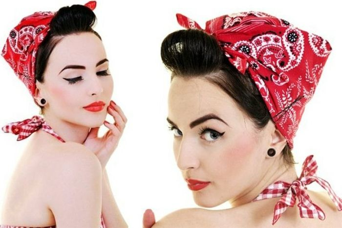 Rockabilly hairstyle with red bandana, black hair, retro style