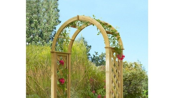 rose arch-wood-red-roses