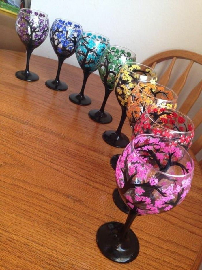 beautifully-painted-red wine glasses-in-different-colors