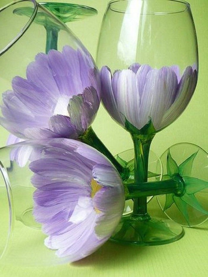 beautiful-than-Flower-painted wine glasses