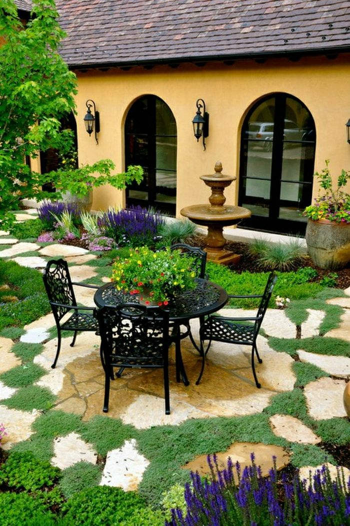 nice house garden-table-chairs-wrought iron flower garden fountains