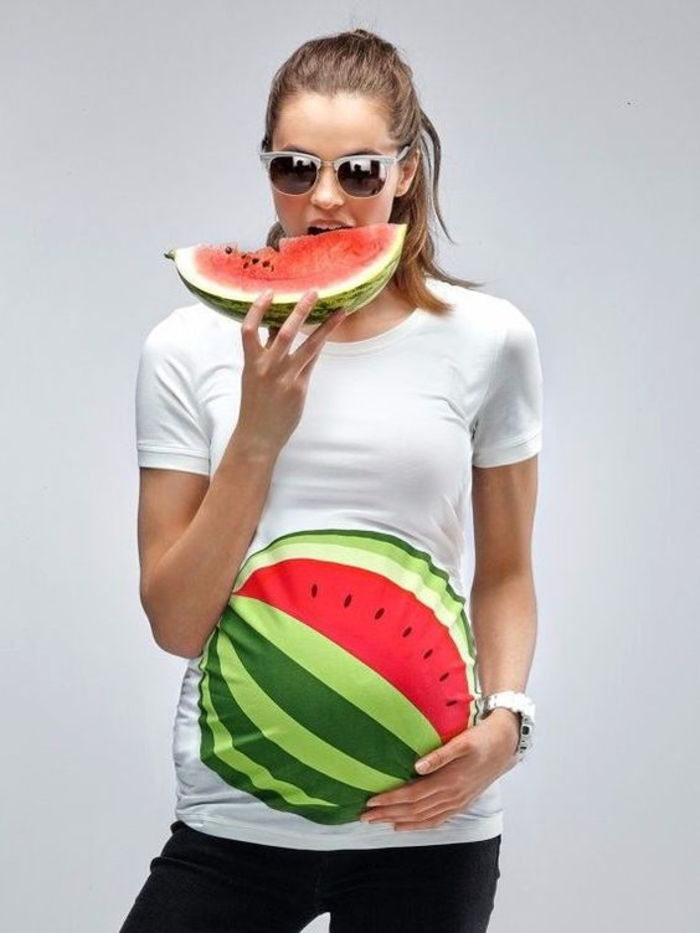 pregnancy fashion, funny shirt with watermelon, white, short sleeves