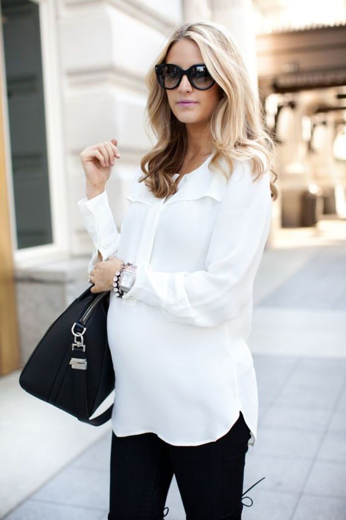 Pregnancy clothes, white shirt with long sleeves