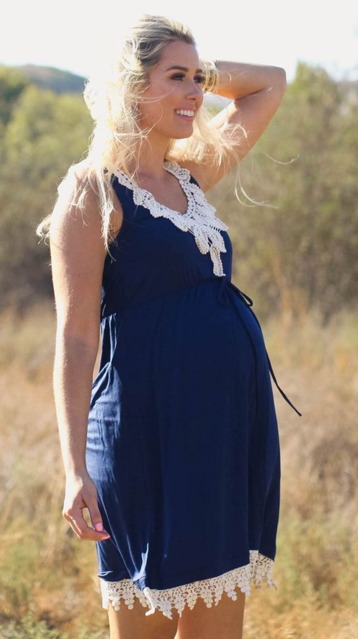 Pregnancy clothing, maternity dresses in dark blue and white, with lace