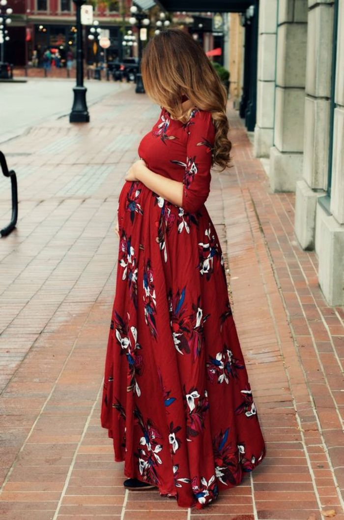 Maternity dress, dark red with flowers, long and loose falling