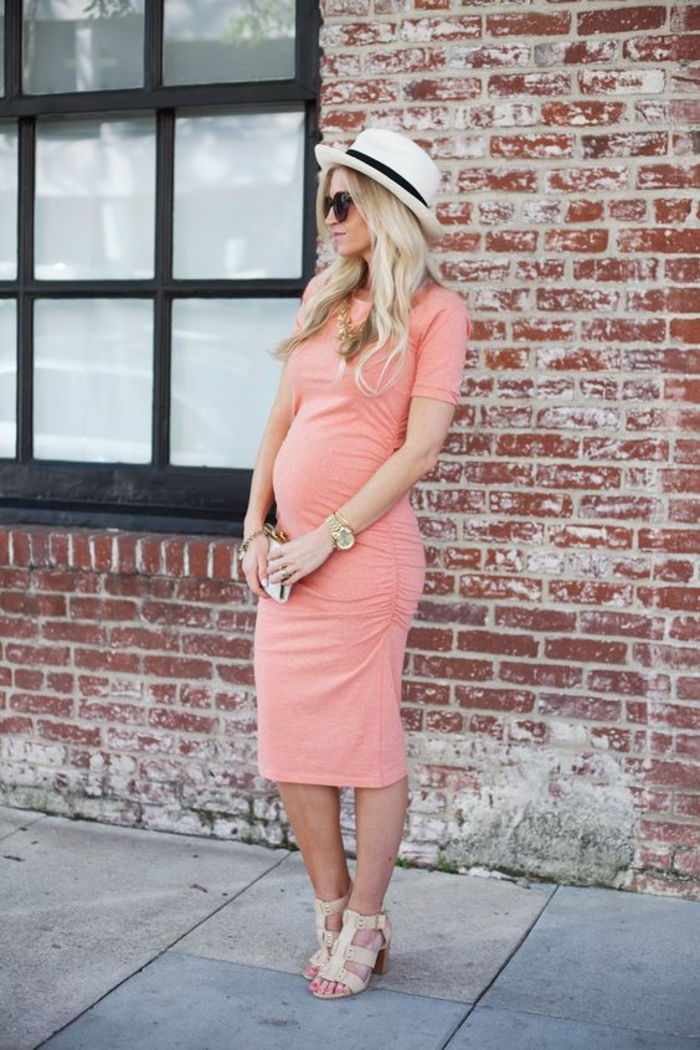 pregnancy fashion, maternity dress, long, with short sleeves