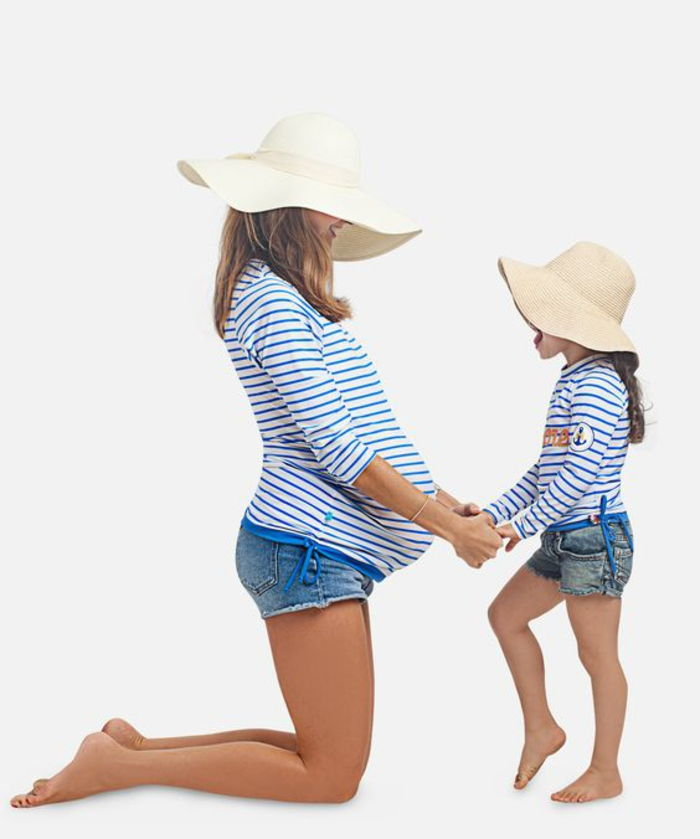 maternity wear, striped blouse in blue and white, shorts