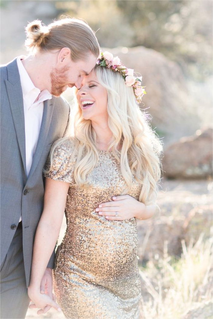 maternity wear, glitter dress with short sleeves, flower wreath