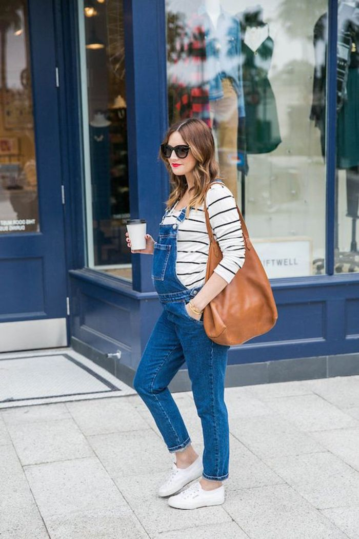 maternity wear, lacy jeans, striped blouse, brown leather bag