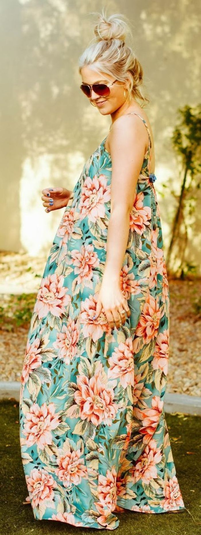 Maternity dress, long and loose, colorful, floral, dress