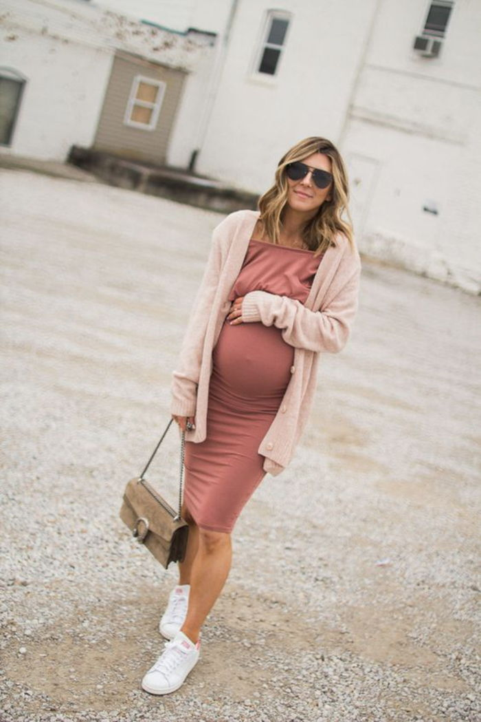 maternity dress and cardigan, combined with sneakers