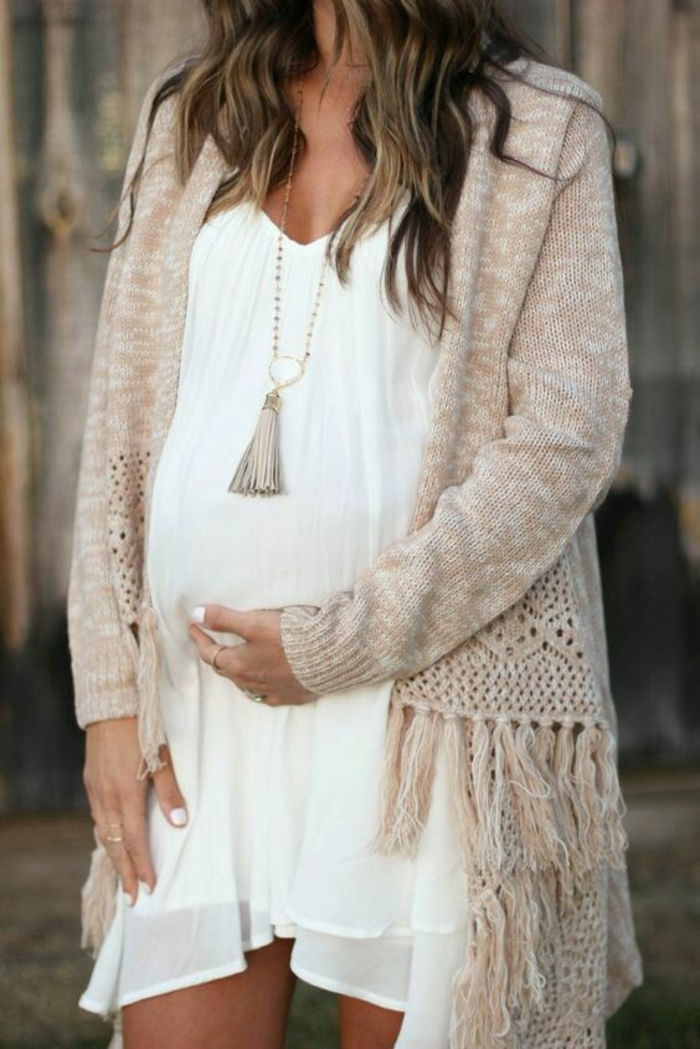 pregnancy fashion, maternity dress in white, light and loose, knit cardigan
