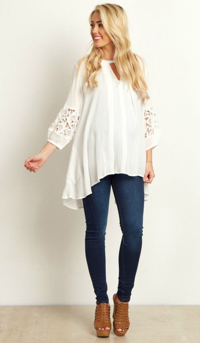maternity wear, casual blouse in white, loose falling, with long sleeves