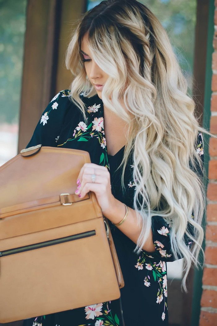 dark tips and light blonde tips great effect blogger beautiful woman beige bag dress with floral motif