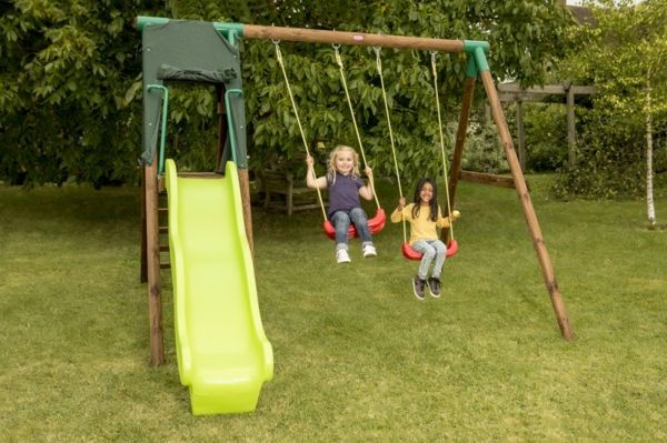 playground equipment-garden-yellow-slide-and-swing-for-the-garden