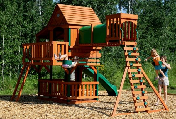 playground-of-wood-with-rock-and-slide-exterior-design-ideas
