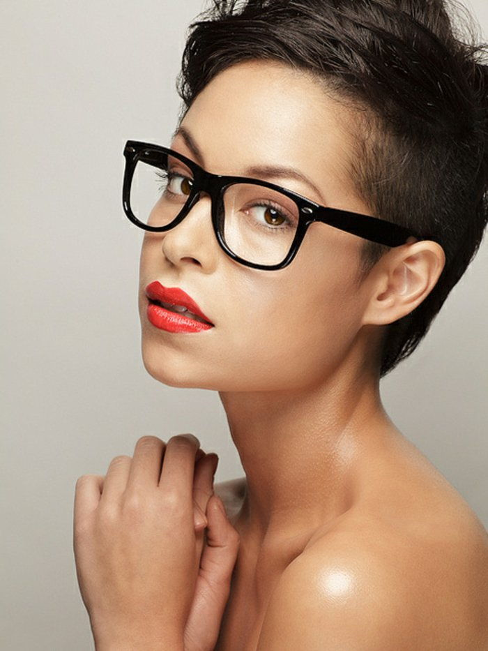 sympathetic woman hipster glasses and elegant model black frame