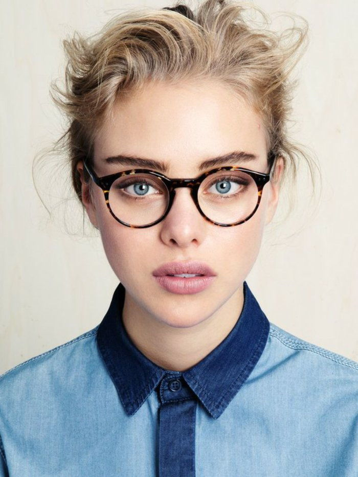 sympathetic Girls hipster look hornbrille-round shape