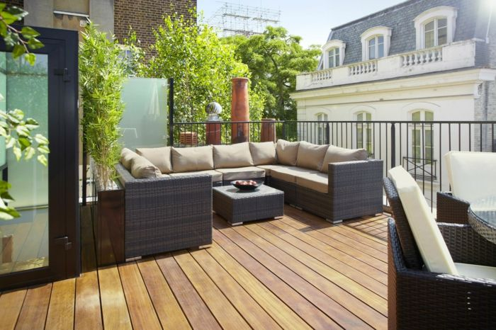 terrace design ideas to furnish and furnish balcony and terrace large sofa