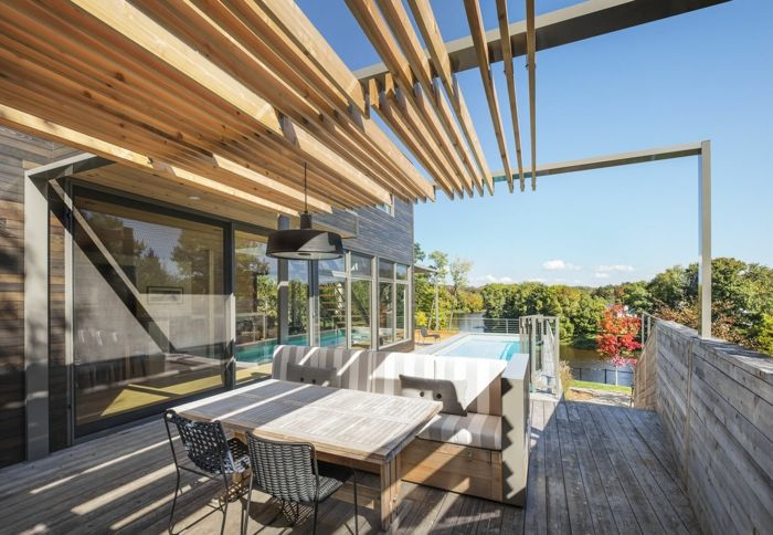 terrace design ideas wooden furniture on the terrace pool sunny weather sunshine