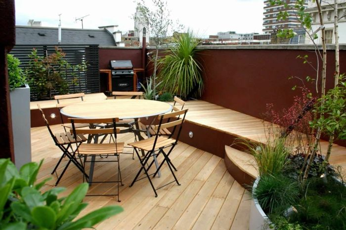 terrace design ideas table with chairs green plants stairs on the terrace roof decoration