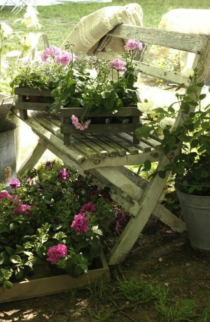 terraces ideas for decoration stool in white color wooden flowers purple or pink beautiful ideas